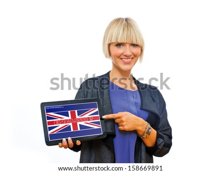 attractive blond woman holding tablet with english language sign on screen