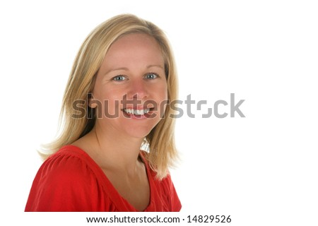 Attractive blond woman in studio poses isolated on white background. Portion of photographers commission of this image will be donated to Autism Ontario.