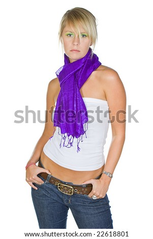Attractive Blonde Girl in Purple Scarf - stock photo