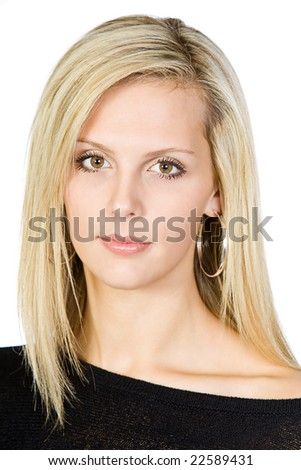 Attractive Blonde Girl Looking at Camera - stock photo