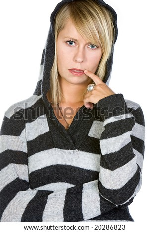 Attractive Blonde Girl with Finger by Mouth - stock photo