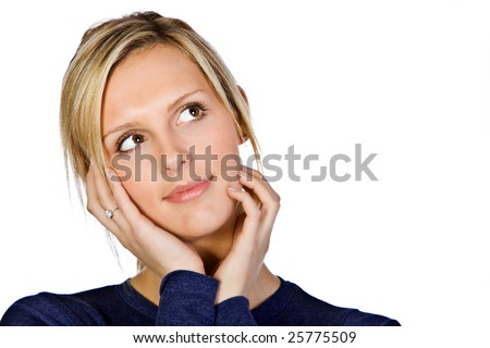 Attractive Blonde Girl with her Hands on her Face - stock photo