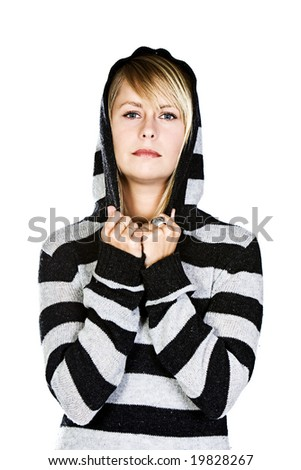 Attractive Blonde Girl with Hood Up - stock photo