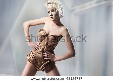 Attractive blonde posing - stock photo