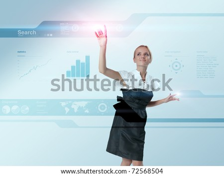 Attractive blonde touching the world map virtual future interface. Light flashes. One of a 200+ series. - stock photo