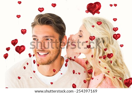 Attractive blonde whispering secret to boyfriend against red heart balloons floating - stock photo