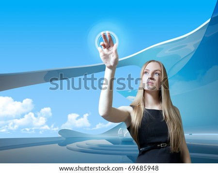 Attractive blonde with interface in futuristic interior (outstanding business people in interiors / interfaces series) - stock photo