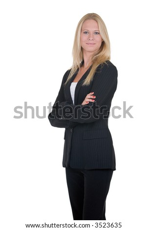 Attractive blonde woman in professional business suit standing sideways with arms crossed standing on white - stock photo