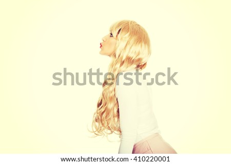 Attractive blonde woman in red lipstick. - stock photo
