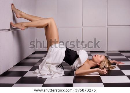 attractive blonde woman posing - stock photo