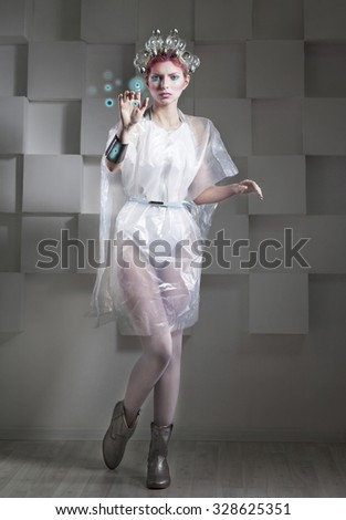 Attractive blonde woman touching the button in virtual future interface - stock photo
