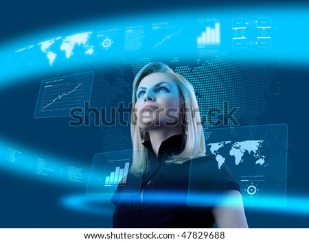 Attractive blonde young woman in futuristic interface (business people in virtual space photo collages series). Future technology concept. - stock photo
