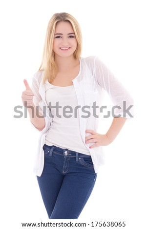attractive blondie woman thumbs up isolated on white background - stock photo