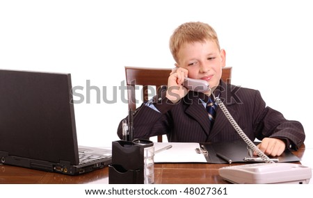 attractive boy on his working place isolated on white - stock photo