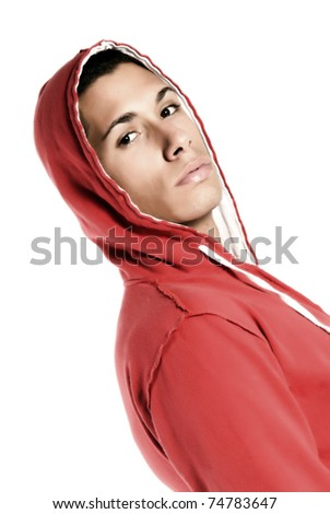 Attractive boy on white background - stock photo