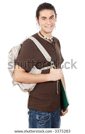 attractive boy student a over white background