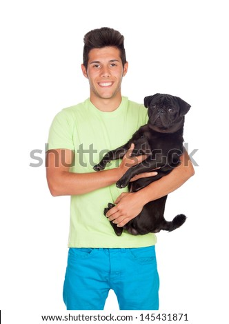 Attractive boy with her pug dog isolated on white background - stock photo