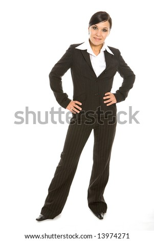 attractive brunette businesswoman on white background