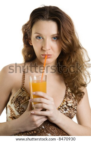 Attractive brunette drink orange juice. Isolate on white.