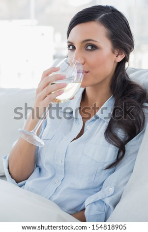 Attractive brunette drinking white wine sitting on sofa in her living room - stock photo