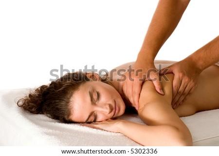 attractive brunette getting a massage - stock photo