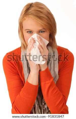 Attractive brunette girl got a cold isolated on white background - stock photo