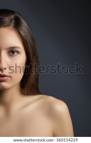 Attractive brunette girl is expressing her sexuality - stock photo