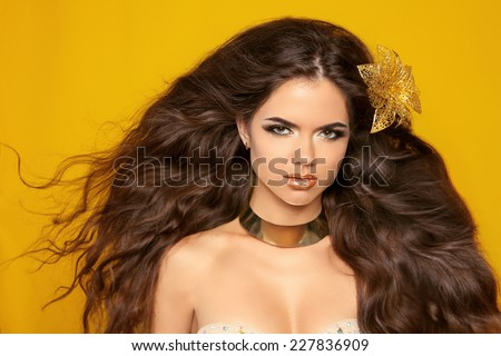 Attractive brunette girl model with long wavy hair styling, makeup and fashion jewelry isolated on yellow background. Elegant lady with blowing hair. - stock photo