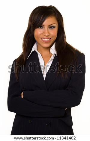 Attractive brunette Hispanic woman wearing business suit standing on white