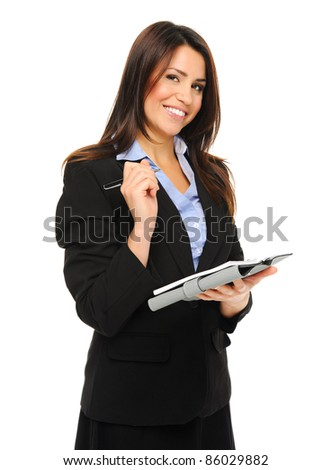 Attractive brunette holding a clipboard while doing a survey, isolated on white
