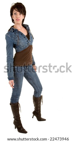 Attractive Brunette Lady Wearing Jeans and Leather Boots