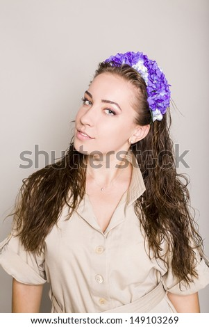 attractive brunette with a hairdress - stock photo