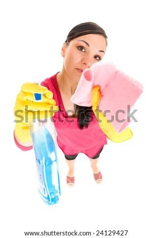 attractive brunette woman doing housework - stock photo