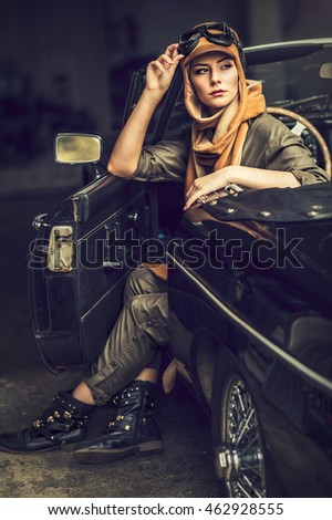 attractive brunette woman in car