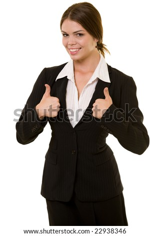 Attractive brunette woman in professional business suit standing on white pointing her thumbs up smiling - stock photo
