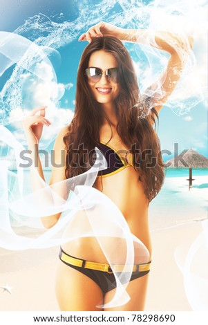 attractive brunette woman in swimsuit with sexy body on the beach - stock photo