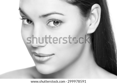 attractive brunette woman portrait on white background isolated - stock photo