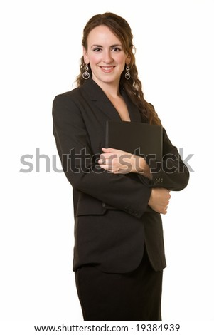 Attractive brunette woman wearing black business suit standing on white - stock photo