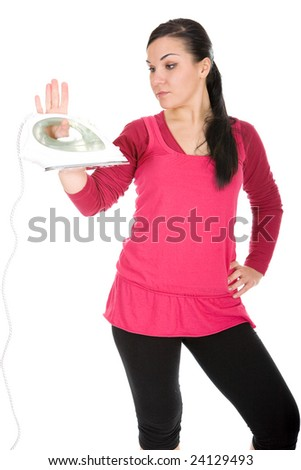 attractive brunette woman with iron. over white background - stock photo