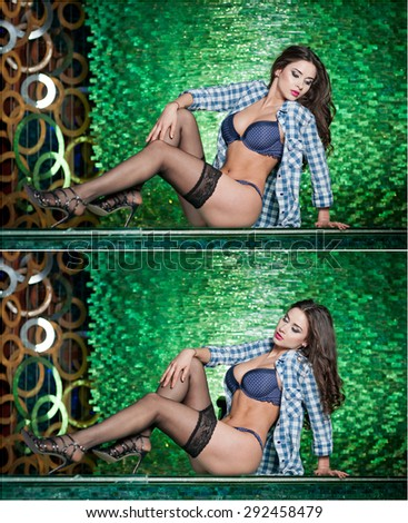 Attractive brunette woman with long legs in lingerie and black stockings laying on bar in a nightclub. Gorgeous model posing showing her legs in a modern scenery bright green textured - stock photo