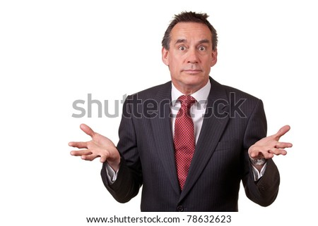 Attractive Business Man with Surprised Expression and Open Hands