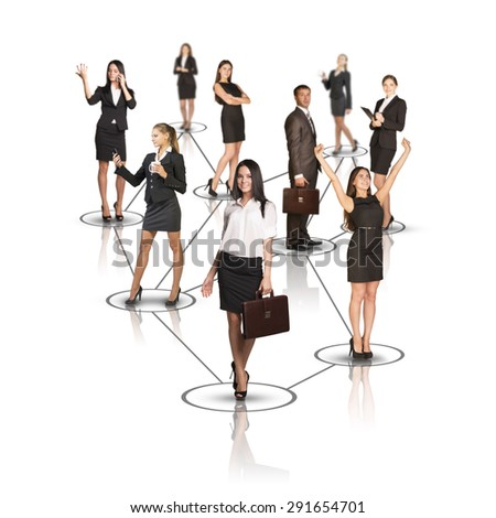 Attractive business people looking at camera on isolated white background