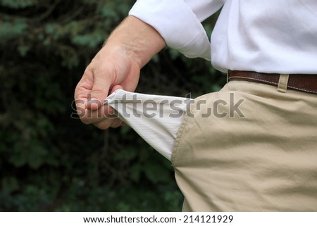 Attractive Business Professional Broke with No Money and Bankrupt - stock photo