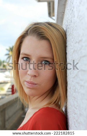 Attractive Business Professional Business Woman College Student Young Teenager Upset and Serious Blonde Hair - stock photo