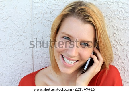 Attractive Business Professional Business Woman Happy on the Phone College Student Smiling and Happy Teen - stock photo
