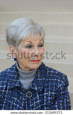 Attractive Business Professional Elderly Senior Woman Wearing Blue and Looking Serious - stock photo