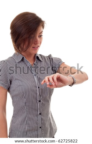 attractive business woman checking time over white background - stock photo