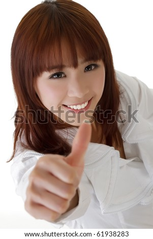 Attractive business woman give you excellent sign against white. - stock photo