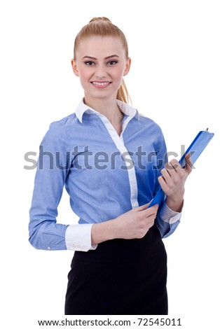 Attractive business woman holding a clipboard. Isolated on white - stock photo