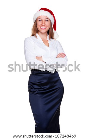 attractive business woman in santa hat posing over white background - stock photo